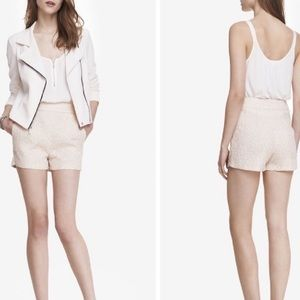 EXPRESS Blush Pink Jacquard High Rise Zip Shorts